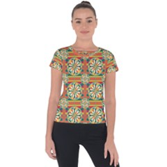 Eye Catching Pattern Short Sleeve Sports Top