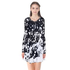 Black And White Splash Texture Flare Dress by dflcprints