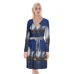 Landmark Sydney Opera House Long Sleeve Velvet Front Wrap Dress