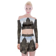 Prambanan Temple Indonesia Jogjakarta Off Shoulder Top With Skirt Set