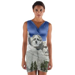 Mount Rushmore Monument Landmark Wrap Front Bodycon Dress