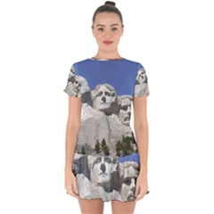 Mount Rushmore Monument Landmark Drop Hem Mini Chiffon Dress