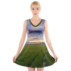 Landscape Sunset Sky Sun Alpha V Neck Sleeveless Skater Dress