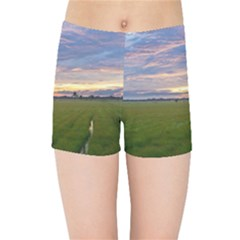 Landscape Sunset Sky Sun Alpha Kids Sports Shorts