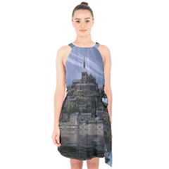 Mont Saint Michel France Normandy Halter Collar Waist Tie Chiffon Dress