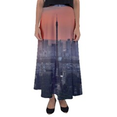Paris France French Eiffel Tower Flared Maxi Skirt