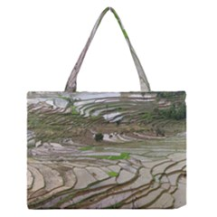 Rice Fields Terraced Terrace Zipper Medium Tote Bag