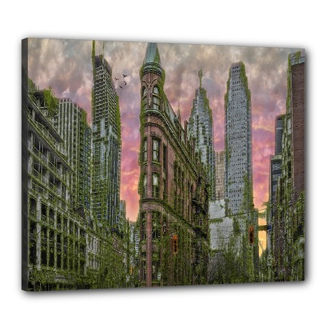 Flat Iron Building Toronto Ontario Canvas 24  X 20  by Nexatart