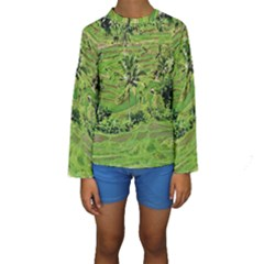 Greenery Paddy Fields Rice Crops Kids  Long Sleeve Swimwear by Nexatart