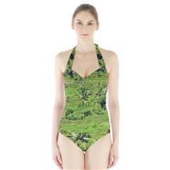 Greenery Paddy Fields Rice Crops Halter Swimsuit by Nexatart