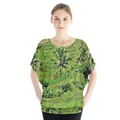 Greenery Paddy Fields Rice Crops Blouse by Nexatart