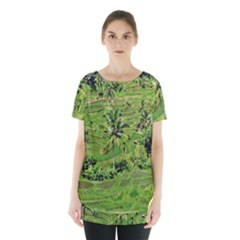 Greenery Paddy Fields Rice Crops Skirt Hem Sports Top by Nexatart