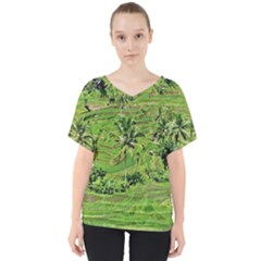 Greenery Paddy Fields Rice Crops V Neck Dolman Drape Top by Nexatart
