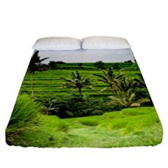 Bali Rice Terraces Landscape Rice Fitted Sheet (queen Size)