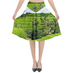 Bali Rice Terraces Landscape Rice Flared Midi Skirt