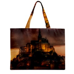 Mont St Michel Sunset Island Church Zipper Mini Tote Bag