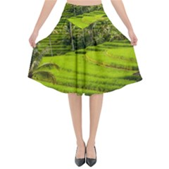 Rice Terrace Terraces Flared Midi Skirt