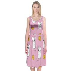 Cute Mouse Pattern Midi Sleeveless Dress