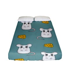 Cute Mouse Pattern Fitted Sheet (full/ Double Size) by Valentinaart
