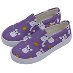 Cute Mouse Pattern Kids  Canvas Slip Ons by Valentinaart