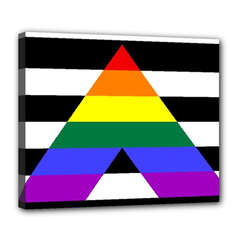 Straight Ally Flag Deluxe Canvas 24  X 20   by Valentinaart