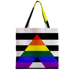 Straight Ally Flag Zipper Grocery Tote Bag by Valentinaart