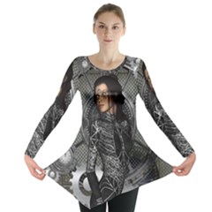 Steampunk, Steampunk Lady, Clocks And Gears In Silver Long Sleeve Tunic  by FantasyWorld7
