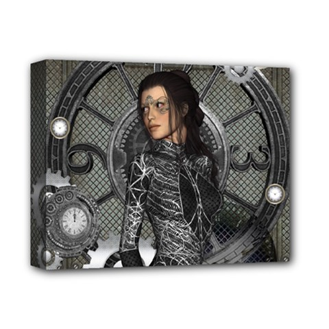 Steampunk, Steampunk Lady, Clocks And Gears In Silver Deluxe Canvas 14  X 11  by FantasyWorld7