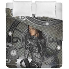 Steampunk, Steampunk Lady, Clocks And Gears In Silver Duvet Cover Double Side (california King Size) by FantasyWorld7