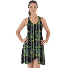 Bamboo Pattern Show Some Back Chiffon Dress by ValentinaDesign