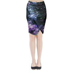 Space Colors Midi Wrap Pencil Skirt