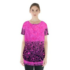 Modern Paperprint Hot Pink Skirt Hem Sports Top by MoreColorsinLife