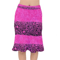 Modern Paperprint Hot Pink Mermaid Skirt by MoreColorsinLife