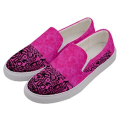 Modern Paperprint Hot Pink Men s Canvas Slip Ons by MoreColorsinLife