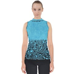 Modern Paperprint Turquoise Shell Top by MoreColorsinLife