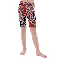 Splatter Abstract Texture Kids  Mid Length Swim Shorts by dflcprints