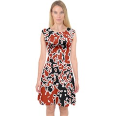 Splatter Abstract Texture Capsleeve Midi Dress by dflcprints