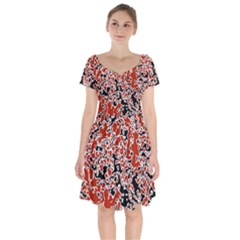 Splatter Abstract Texture Short Sleeve Bardot Dress by dflcprints