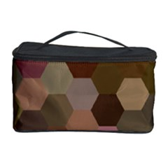 Brown Background Layout Polygon Cosmetic Storage Case