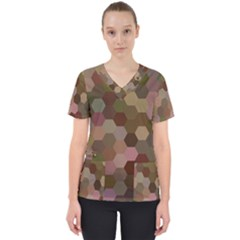 Brown Background Layout Polygon Scrub Top