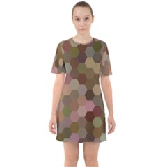 Brown Background Layout Polygon Sixties Short Sleeve Mini Dress by Nexatart