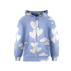 Clouds Sky Air Balloons Heart Blue Kids  Zipper Hoodie