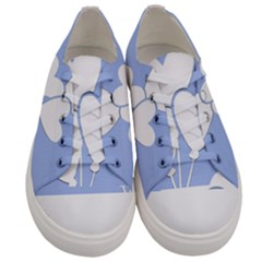 Clouds Sky Air Balloons Heart Blue Women s Low Top Canvas Sneakers