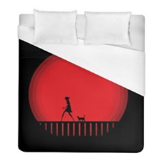 Girl Cat Scary Red Animal Pet Duvet Cover (full/ Double Size) by Nexatart