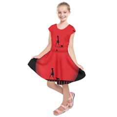 Girl Cat Scary Red Animal Pet Kids  Short Sleeve Dress by Nexatart