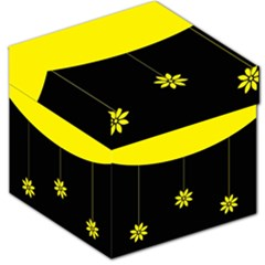 Flower Land Yellow Black Design Storage Stool 12