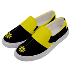 Flower Land Yellow Black Design Men s Canvas Slip Ons by Nexatart