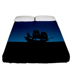 Ship Night Sailing Water Sea Sky Fitted Sheet (king Size)