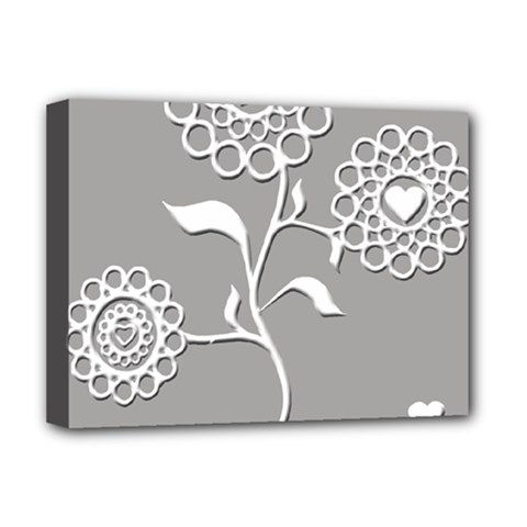 Flower Heart Plant Symbol Love Deluxe Canvas 16  x 12