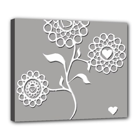 Flower Heart Plant Symbol Love Deluxe Canvas 24  x 20